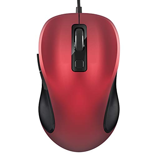 TedGem Maus, Ergonomisches Wired Mouse PC Maus Laptop Maus 6-Tasten 3 DPI(2000-1600-1000), Laptop Mouse Wired Für Windows 7/8/10 / XP, Vista, Linux und Mac OS(Rot)
