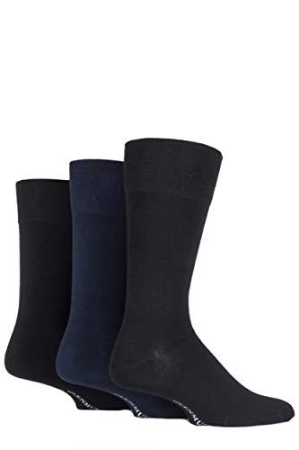 Glenmuir Mens 3 Pair Plain Comfort Cuff Socks 7-11 Herren Schwarz/Navy/Grau