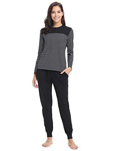 Hawiton Damen Schlafanzug Pyjama Lang Gestreift Hausanzug Baumwolle Nachtwäsche mit Tasche Oberteil Hose für Herbst Winter (Schwarz-94, L)