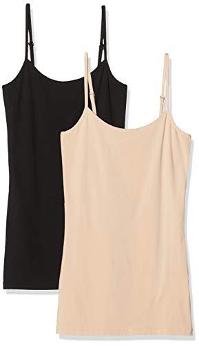 Vila NOS Damen VISURFACE Strap New 2-Pack-NOOS Top, Beige (Cuban Sand Pack: Black), 36 (Herstellergröße: S/M)