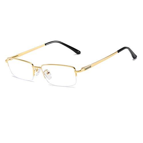 QECEPEI Half Rimless Metal Eyewear Frames Blue Light Blocking Transparent Lens Business Glasses, Shiny Gold, One Size