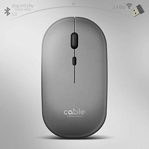 Cable Technologies Mouse Wireless Due Modalità Professionale, DUE COLORI, Mouse Silenzioso Ergonomico Ricaricabile e Bluetooth 5.0,Plug & Play, Anti interferenza 1600dpi,Ottico Wifi sottile senza fili