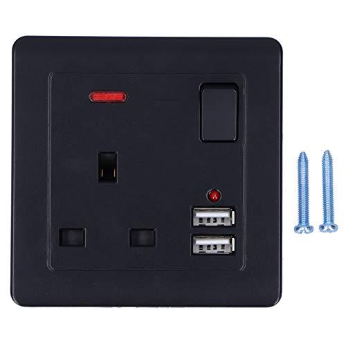 Chargeur mural USB, prise murale noire 250V UK Plug, avec 2 ports USB multifonction pour bureau à domicile