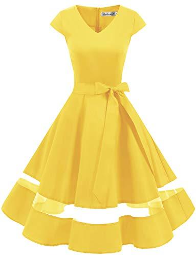 Gardenwed Vintage Vestidos Coctel Corto 50s Vestido de la Fiesta para Mujer Yellow M
