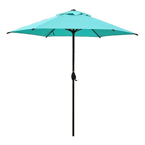 Abba Patio 9ft Patio Umbrella Outdoor Umbrella Patio Market Table Umbrella with Push Button Tilt and Crank for Garden, Lawn, Deck, Backyard & Pool, Teal Blue