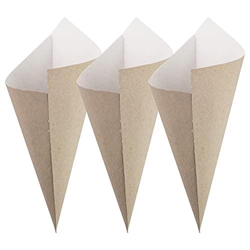 Extiff – Lote de 100 cuencos de cartón reciclado para cirumbres calientes o frutos secos o frescos, 100% reciclable (Cornet 17 x 24)