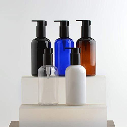 LTTXS Flacon Pompe Rechargeable,Shampooing Bouteille cosmétique Lotion bouteille-250 ML Noir + tête de Pompe Noir Argent,5 pièces,Très adapté pour Le Camping, la Gym, la Natation