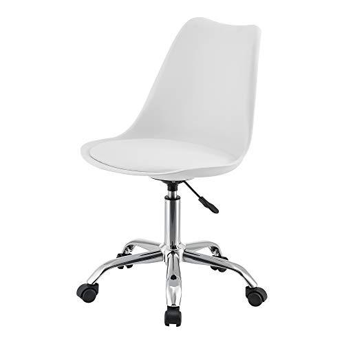 [en.casa] Bürostuhl Atherton Höhenverstellbar Schriebtischstuhl Kunstleder Drehstuhl Computerstuhl Weiß