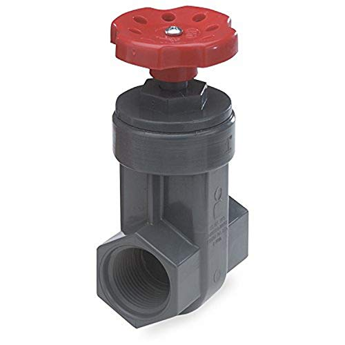 NDS GVG-1250-T ProGuard Gate Valve, 1-1/4 in, Fipt, SCH 80 PVC, Gray Body, Handle, 1-1/4-Inch, Red