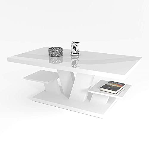 Viva - Couchtisch Weiß Hochglanz mit Zwei Regalen, Wohnzimmertisch Modern - Beistelltisch Sofatisch Coffee Table, Möbel Wohnzimmer 110x60x45 cm (Weiß)