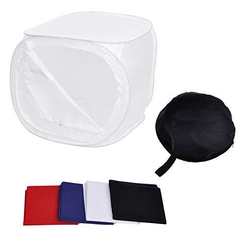 60 cm Portátil de Luz Fotográfica Foto Plegable Caja Suave de Fotos Caja Cubica Blanca Kit de Apoyos de Estudio con 4 Telones de Fondo