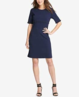 DKNY Womens Navy Studded Scuba Short Sleeve Jewel Neck Above The Knee A-Line Wear To Work Dress US Size: 14