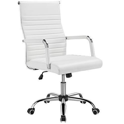 YAHEETECH PU Leather Ribbed Office Chair, Ergonomic Adjustable Desk Chair with 360° Swivel/Lumbar Support, White