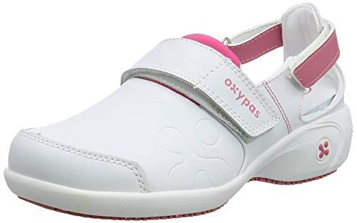Oxypas Move Up Salma Slip-resistant, Antistatic Nursing Shoes, White/Fuchsia (Fuchsia), 4 UK (37 EU)