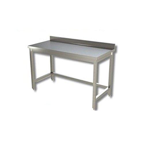 Table en acier inoxydable sans plateau de fond avec présentoir à gâteaux dim. cm 200 x 70 x 85h