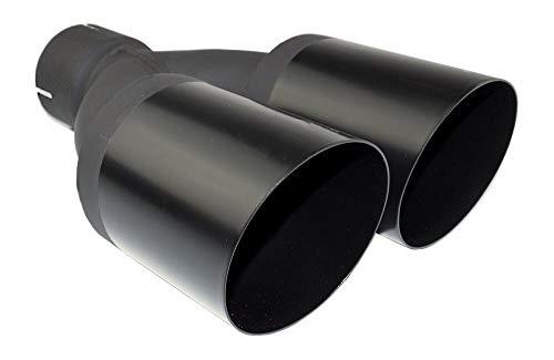 Auspuffblende Endrohr Doppelendrohr NBL2-90-1*/65 schwarz matt rund abgeschrägt 2x 90mm Auspuff Sportauspuff Optik Blende Edelstahl Anschluß 65mm