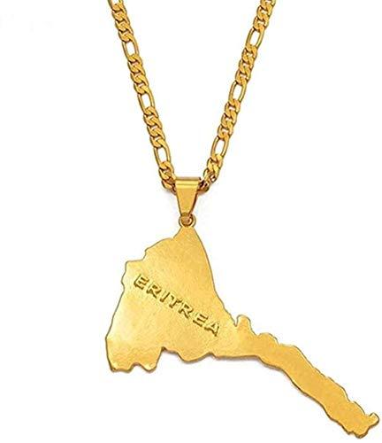 ZGYFJCH Co.,ltd Necklace Woman Necklace Necklace Eritrea Map Pendants and Necklaces Chain Women Men/Eritrea Map Gold Color Jewelry Africa Ethiopia Necklace
