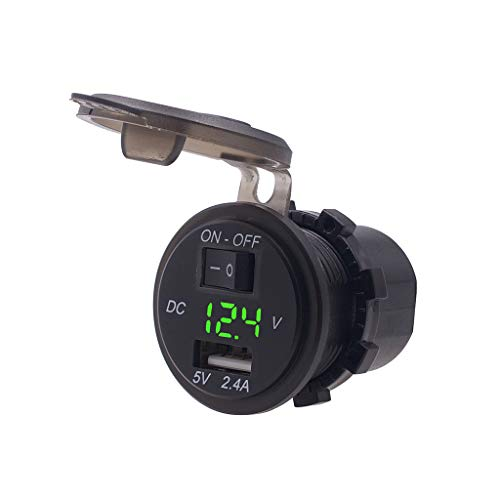 Meipai 12V / 24V - Enchufe de Cargador de Coche USB Impermeable de 2,4 A, Adaptador de Toma de Corriente, con Interruptor de Encendido y Apagado, voltímetro LED