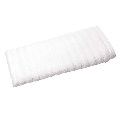 Price comparison product image iDesign Hand Towel,  Small Ribbed Cotton Hair Towel,  Soft Face Cloth for the Face and Hands or for the Shower and Bath,  White