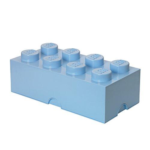 LEGO Aufbewahrungsstein, 8 Noppen, Stapelbare Aufbewahrungsbox, 12 l, hellblau