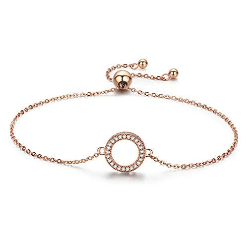 Lafeil 925 Pulsera círculo Plata esterlina Plata Oro Rosa con Diamantes Pulsera Moda Simple Ajustable Amistad eterna Regalo joyería Amor,Oro