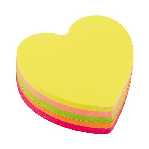 D.RECT 110799 Haftnotizwürfel Super Sticky Notes Selbstklebende Haftnotizzettel in 70x70mm 400 Blatt Herz Neon