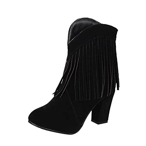 stivaletti donna con tacco bassi boot inverno neve Stivali Donna Moda Frange Tinta unita Stivaletti tacco alto smerigliato spesso (42,nero)