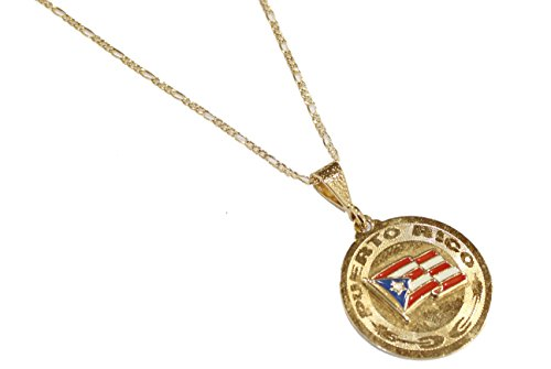 Pendentif Drapeau de Porto Rico–PTO. Rico Drapeau Dije Plaqué or 18K Pendentif avec chaîne de 55,9cm