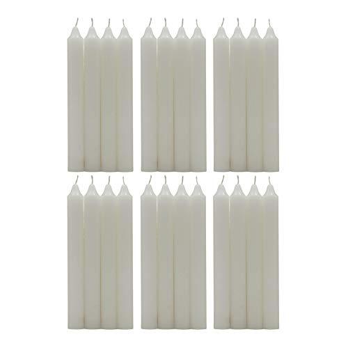 H Hansel Home - Candele per candelabro, cera,Set di 24 pezzi,Altezza 17.5 cm,Ø1.8cm, Candele a bastoncino(Colore Bianco)