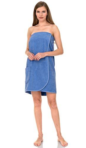 TowelSelections Women's Wrap, Shower & Bath, Terry Spa Towel X-Small Cornflower Blue