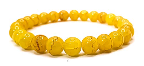 Pulsera elástica para hombre y mujer, con piedras preciosas naturales de 8 mm, para reiki, idea de regalo de cumpleaños, original difusor de energía para curar el equilibrio Ágata amarilla