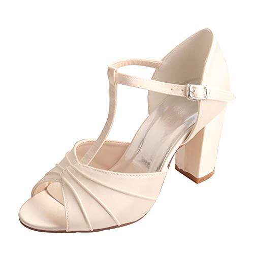 Zapatos De Novia para Mujer Correa En T Zapatos De Tacón Ancho...