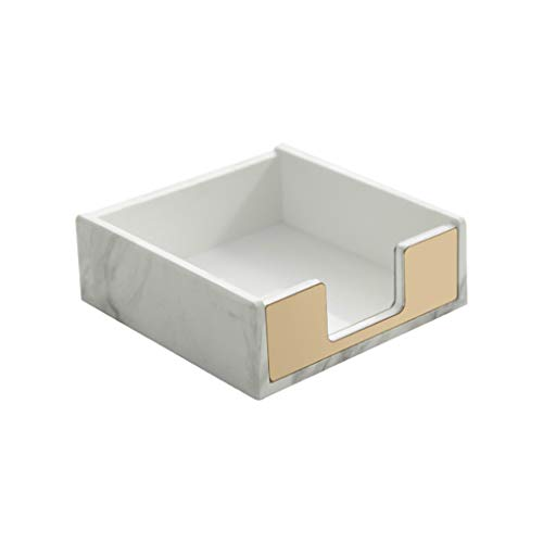 Modern Note Holder, LUYING White Marble Pattern Acrylic Note Holder, Suitable for Office Note pad Cube (Gold)