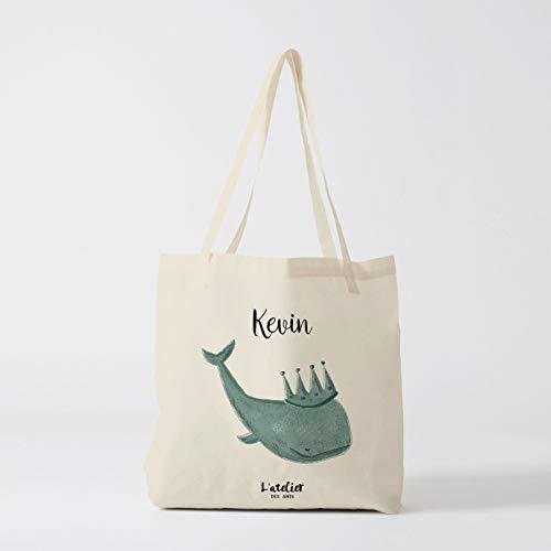 Borsa personalizzata Whale Custom borsa tote Wale bag borsa di cotone cotone bambini scuola borsa borsa regalo