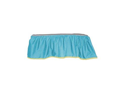 Baby Doll Bedding Solid Two Tone Crib Skirt/Dust Ruffle, Aqua/Yellow