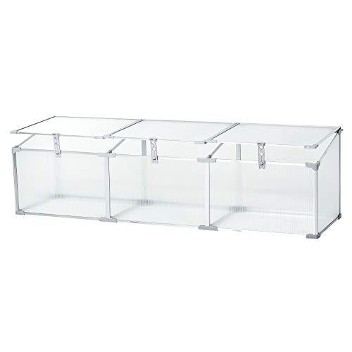 "Outsunny 71"" Aluminum Vented Cold Frame Mini Greenhouse Kit - Silver/Transparent"