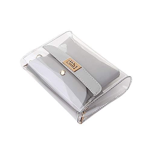 Messenger Bag/Doircal Damen Tasche Shopping Portable Transparente Umhängetasche Mode Mini Kleine Umhängetasche Transparente Mädchen Cute Bag Handtaschen(Grau,18.5cmx5cmx15cm EU)