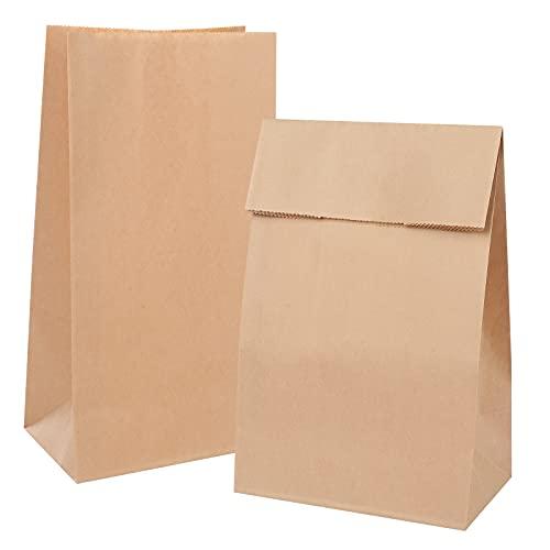 100 Bolsas de Papel Kraft, Bolsas de Regalo 11x6x20cm,Bolsas de Papel Marrón,Bolsa para el pan,Bolsas para Regalos,Bolsas de papel Pequeñas