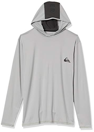 Quiksilver Men's Dredge LS Hooded Long Sleeve Rashguard SURF Shirt, Sleet, M
