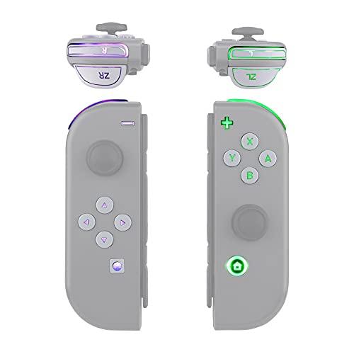 eXtremeRate DFS LED Kit 7 Couleurs 9 Modes Boutons pour Nintendo Switch,Boutons Lumineux Multicolores ABXY Trigger pour Nintendo Switch JoyCon NS Manette-(Pas des MANETTES)-Blanc
