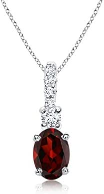 Oval Garnet online shopping Pendant with 6x4mm Superior Bale Diamond