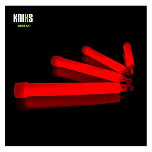 KNIXS 25er Pack Power-Knicklichter/Knicklicht (15cm) inkl. Spezialhaken und Befestigungsband - rot Leuchtend für Party, Festival, Outdoor oder als Dekoration
