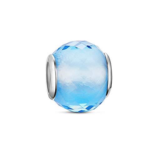 PANDACHARMS Kleiner Türkiser Facettenglas Glas Charm 925 Silber passt zu Pandora Moments