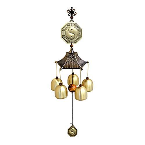 Rsoamy Windspiel, Metall Kupfer Glockenspiel Windspiel,Chinesische Feng Shui Windglocken Kupfer hängendes Dekor für Auto Interior Home Garden