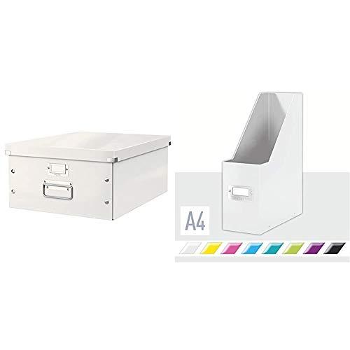 Leitz Caja de Almacenaje A3, Gama Click and Store 60450001 - Grande, Blanco + Revistero, A4, Gama Click and Store 60470001 - Blanco