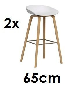HAY About a Stool AAS 32 2 x barkruk 65 cm zithoogte eikenhout - vierpotig wit design HEE welling AAS 32 Daenmark tegen setprijs