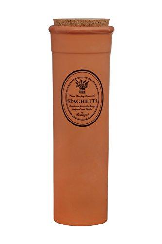 Premier Housewares Porto Premier Hafen Spaghetti Behälter mit Deckel, Kork, Natur, Nicht Glasierte Terrakotta, Natürlich, 10x10x30