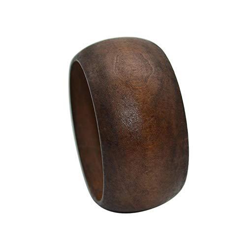 Round DIY Natural Wooden Large Bangles Handmade Ethnic Wood Cuff Bracelet Vintage Simple Round Natural Wooden Chunky Bracelet for Women Girl Jewelry-Brown