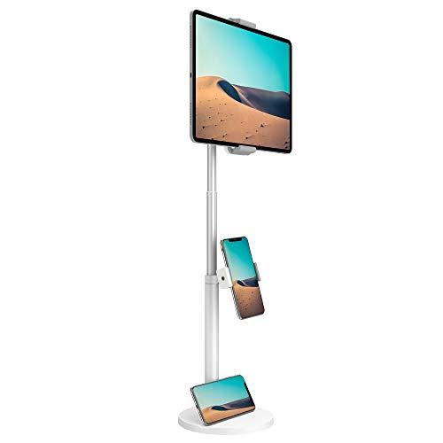 klearlook タブレット スタンド 卓上 高さ62cm程で伸縮式 安定性抜粋台座 スマホホルダー付き 360度回転 多角度調整 人間工学デザイン 4.7-12.9インチのPhoneやPadやswitch等デバイスに適応する-ホワイト