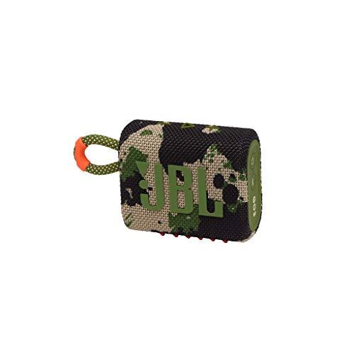 JBL GO 3 kleine Bluetooth Box in Camouflage – Wasserfester, tragbarer Lautsprecher für unterwegs – Bis zu 5h Wiedergabezeit mit nur einer Akkuladung